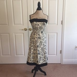 WHBM Black & Cream Floral midi strapless dress